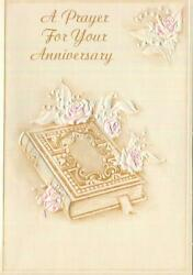 Vintage Hallmark Embossed Pink Roses White Lily Of The Valley Bible Prayer Card