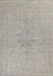 Antique Hand-knotted Kirman Muted Distressed Evenly Low Pile Wool Area Rug 10x13