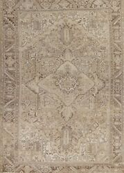 Antique Muted Heriz Hand-knotted Area Rug Geometric Oriental Large Carpet 10x13