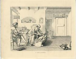 Antique Middle Ages Cosume Farm House Baby Cradle Girl Distaff Woodcut Old Print