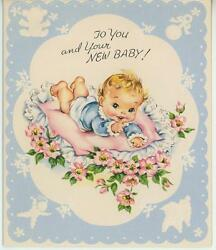 Vintage New Baby Lamb Rattle Duck Jack In The Box Flowers Bible Verse Card Print