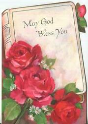 Vintage Hallmark Bible Red Roses Die Cut May God Bless You Greeting Litho Card