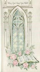 Vintage Blue Pink White Church Window Roses Bible Psalm 1911 God Greeting Card