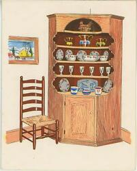 Vintage Corner Cupboard Wicker Chair Glasses Rooster Mold Dish Litho Card Print