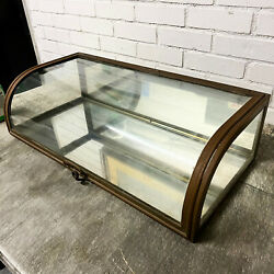 Pair French Brass Curved Glass Antique Display Showcases