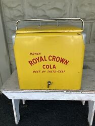Vintage 1950s Royal Crown Cola Yellow Metal Cooler Ice Chest W/ Removable Tray
