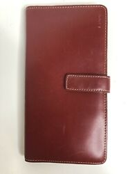 LODIS Smooth Dark Red Leather Clutch Wallet Snap Flap $28.95