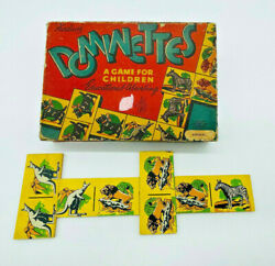 Antique 1940's Animal Dominoes By Kednor- Dominettes Childrens Educational Game