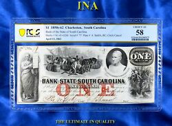 Ina Bank Of The State Of South Carolina 1 Pcgs Choice Au 58 Finest Certified