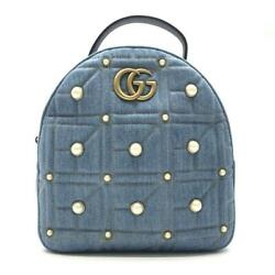 476671 Gg Marmont Denim Backpack Blue Fastener Opening And No.9963