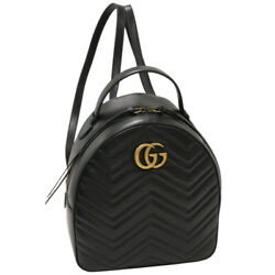 Gg Marmont Calf Black 476671 Backpack From Japan Fedex No.9993