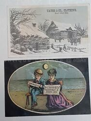 Lot 1880s Antique 2pc Yates And Co Clothing Philadelphia Pa Victorian Trade Card