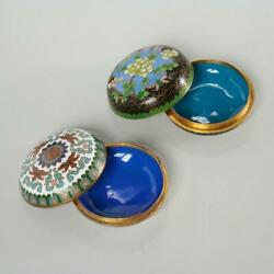 Pair Of 2 Chinese Cloisonne Enamel And Gilt Metal Round Trinket Boxes