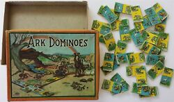Antique Ark Dominoes Noah Wilder Mfg Usa Toy Bible Animal Early 1900s