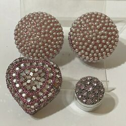 4 Metal Lidded Trinket Boxes Embellished With Pink Rhinestones And White Pearls