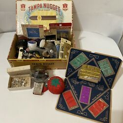 Antique/vintage Cigar Box Full Sewing And Notions Lot-pincushion Buttons Needles