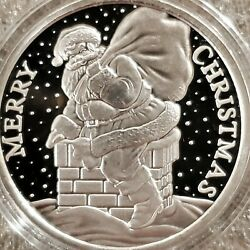 Merry Christmas Santa 1 Oz .999 Silver Round Up On The Rooftop Snowflakes