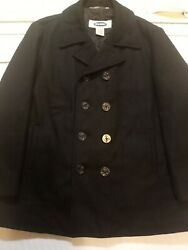Old Navy Black Peacoat Menand039s Coat Size L Lined Winter Wool Blend Jacket Used