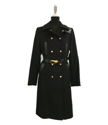 Leather Switching Cashinger Coat Gold Button Tiger Belt 0705 No.6412