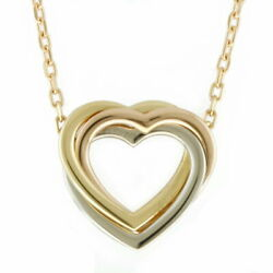 K18yg Wg Pg Necklace Trinity Colors Heart Gold Silver Pink No.7667