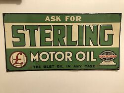 Original 1920andrsquos Embossed Sterling Pennsylvania Oil Tin Tacker Sign Gas Station