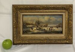 Antique Oil Painting On Board Winter Village Life.