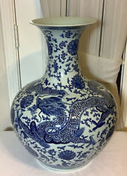 19.5andrdquochinese Hand Painting Blue And White Dragons Porcelain Vase Mark Qing Dynasty