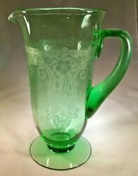 Fostoria Glass Co. Vesper Green 5000-7 Footed Pitcher Or Jug Hot-applied Handle