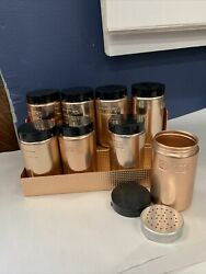 Vintage Whirlpool Copper Tone Spice Rack With 8 Jars Mint