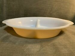 Vintage Fire King Peach Luster Copper Tint 468 Oval Divided Casserole Dish