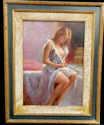 Fine 1960s Italian Impressionist Oil Painting On Panel Of Girl In Dress By Pino