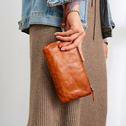 Ancicraft Wristlet Wallets For Women Leather Long Purse Clutch Phone Pouch Brown $80.00