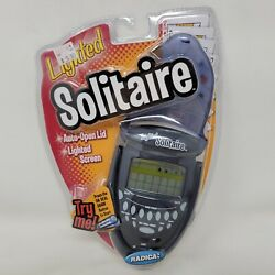 Radica Lighted Solitaire Handheld Electronic Game Blue Flip Top 74014 New 2003