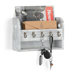 Mail Sorter Wall Mount Mail And Key Holder Organizer With 5 Hooks Wooden Deco