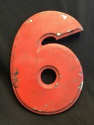 Vintage 30andrsquos Metal Aluminium Marquee Number 6 Wagner Sign Service 8 Inch Red