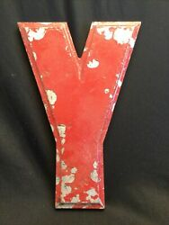 Vintage 30andrsquos Metal Aluminium Marquee Letter Y Wagner Sign Service 10 Inch Red