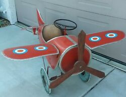 Antique Vintage 1930and039s Steel Metal Tin Toy Pedal Airplane Pedal Car