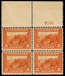 Us 400a 10c Pan-pacific Plate Block Of 4, Perf 12 Mnh Wide Selvedge Apex Cert
