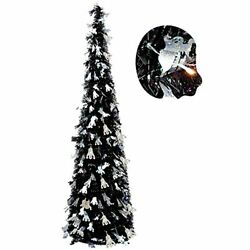 5FT Pop Up Tinsel Christmas Slim Black Tree W Shiny Ghost A1.style 1