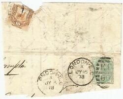 Gb Qv 1sh Plate 13 On 1878 Large Piece To Peru