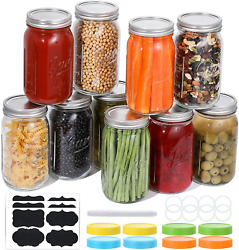 Wide Mouth Mason Jars 32 Oz, 8 Pack Large Glass Canning Jars With Metal Airtight