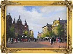 A City Street Scene Antique Oil Painting By Antal Berkes Hungarian 1874andndash1938