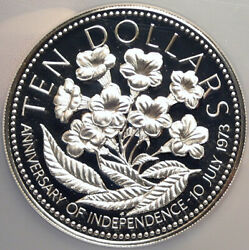 1976 The Bahamas Independence Flowers Vintage Proof Silver 10 Coin Ngc I98546