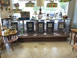 Beautiful Large 10and039 Long Antique Wood And Glass Display Case-gunsdollknivesww2