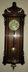 Antique German Two Weight Vienna Wall Clock 8-day Time/strike