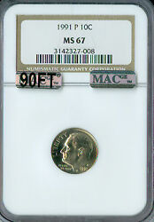 1991-p Roosevelt Dime Ngc Mac Ms67 90ft Pq Finest Rare Spotless 3000.00 In Ft