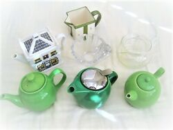 Choose Green Teapots, Creamer, Rosenthal Leaded Glass Cup Infusers, Excellent