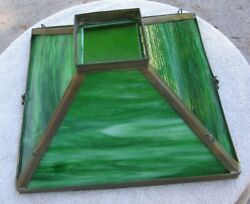 Antique Large 4 Sided Green Slag Glass Shade Parker Hanging Oil Lampstock Lx