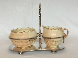 Locke And Co Cream Jug And Sugar Bowl In Silver Plate Stand C.1910