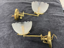 Antique Original Pair Converted Gas Wall Lights Sconces With Shades